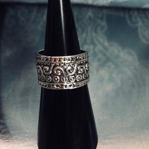 Vintage Geometric Princess Silver Ring